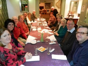 Members around table, before their curry at Ganges, Royal Wootton Bassett